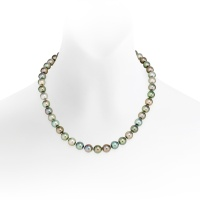 Multi-coloured Tahitian Pearl Necklace in White Gold