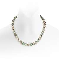 Multi-coloured Tahitian Pearl Necklace in Yellow Gold