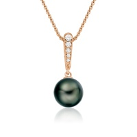 Mythologie Dark Dewdrop Tahitian Pearl Pendant in Rose Gold