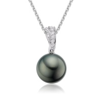 Black Tahitian Pearl and Diamond Wave Pendant in White Gold