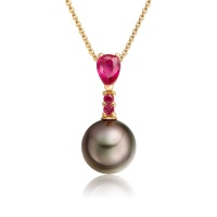 Cherry Tahitian Pearl and Ruby Drop Pendant in Yellow Gold