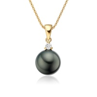 Black Tahitian Pearl and Diamond Pendant in Yellow Gold