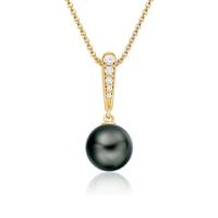 Mythologie Dark Dewdrop Tahitian Pearl Pendant in Yellow Gold