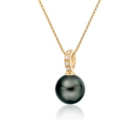 Mythologie Tahitian Pearl and Diamond Pendant in Yellow Gold
