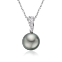 Grey Tahitian Pearl and Diamond Wave Pendant in White Gold