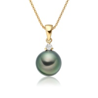 Peacock Tahitian Pearl and Diamond Pendant in Yellow Gold