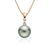 Green Grey Tahitian Pearl and Diamond Pendant in Rose Gold