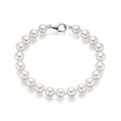Classic White Japanese Akoya Pearl Bracelet with 18ct Gold-2