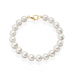 Luxury White Japanese Akoya Pearl Bracelet with 18ct Gold-2