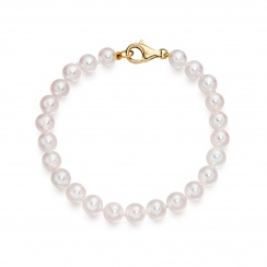 Single White Japanese Akoya Pearl Bracelet with 18ct Gold-2