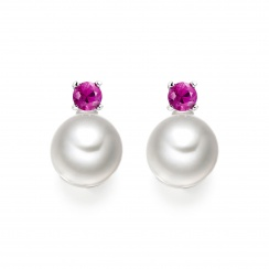 Pink Ruby Stud Earrings in White Gold with Akoya Pearls-1