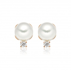 Entwined Akoya Pearl and Diamond Studs in Rose Gold-AEWRRG1181-1