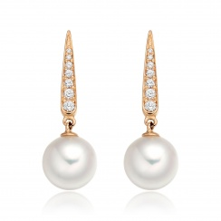 Mythologie Dewdrop Akoya Pearl Earrings in Rose Gold-AEWRRG1215-2