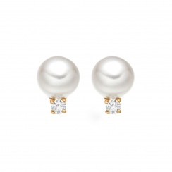 Classic Akoya Pearl and Diamond Studs in Rose Gold-AEWRRG1306-1