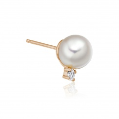 Luxury Akoya Pearl and Diamond Studs in Rose Gold-AEWRRG1307-2