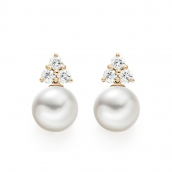 Astral Cluster Studs in Rose Gold with Akoya Pearls-AEWRRG1341-1