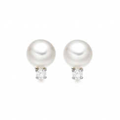 Classic Akoya Pearl and Diamond Studs in White Gold-AEWRWG0365-1