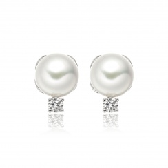 Entwined Akoya Pearl and Diamond Studs in White Gold-AEWRWG0417-2