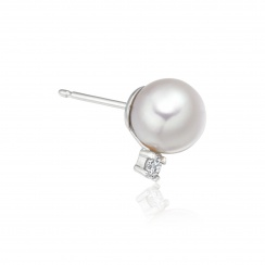 9mm Akoya Pearl and Diamond Stud Earrings in 18ct White Gold - AEWRWG0617-2