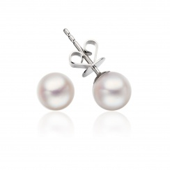 Classic Akoya Pearl Necklace and Earrings Set in White Gold-SETSAK0155-3