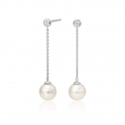 Akoya Pearl and Diamond Constellation Earrings in White Gold-AEWRWG1227-1