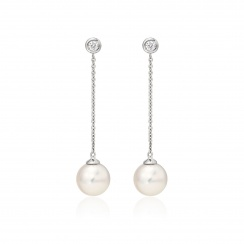 Akoya Pearl and Diamond Constellation Earrings in White Gold-AEWRWG1227-2