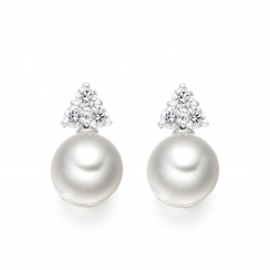 Astral Cluster Studs in White Gold with Akoya Pearls-AEWRWG1336-1