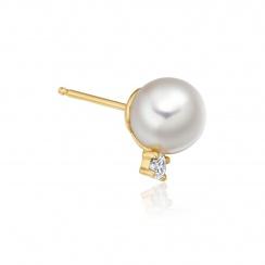 Luxury Akoya Pearl and Diamond Studs in Yellow Gold-AEWRYG0618-2
