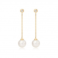 Akoya Pearl and Diamond Constellation Earrings in Yellow Gold-AEWRYG1228-2