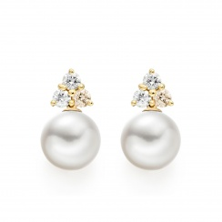 Astral Moon Studs in Yellow Gold with Akoya Pearls-AEWRYG1340-1