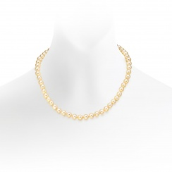 Golden Akoya Pearl Necklace with 18ct Yellow Gold Clasp-ANGRYG0262-1
