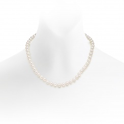 Classic Akoya Pearl Necklace and Earrings Set in White Gold-SETSAK0155-2