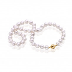 Serenade Diamond and Pearl Necklace in Yellow Gold-2