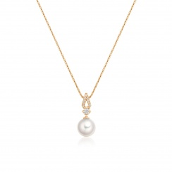 Zigzag Diamond and Akoya Pearl Pendant in Rose Gold-APWRRG1118-2