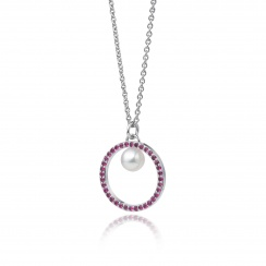 Pink Ruby and Akoya Pearl Pendant with 18ct Gold Chain-APWRWG0128-2