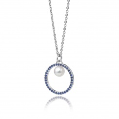 Blue Sapphire and Akoya Pearl Pendant with 18ct Gold Chain-APWRWG0129-2