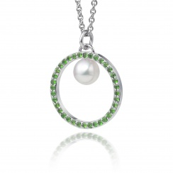 Tsavorite Garnet and Akoya Pearl Pendant with 18ct Gold Chain-APWRWG0130-1