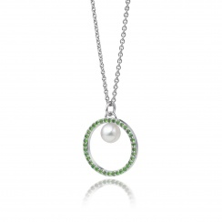 Tsavorite Garnet and Akoya Pearl Pendant with 18ct Gold Chain-APWRWG0130-2