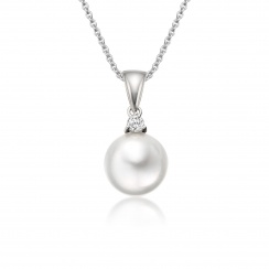 Akoya Pearl and Diamond Pendant with 18ct White Gold-APWRWG0173-1