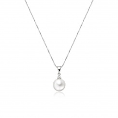 Akoya Pearl and Diamond Pendant with 18ct White Gold-APWRWG0173-2