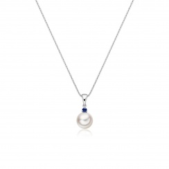 Akoya Pearl and Blue Sapphire Pendant in White Gold-2