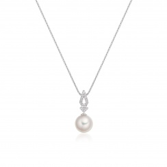 Zigzag Diamond and Akoya Pearl Pendant in White Gold-2