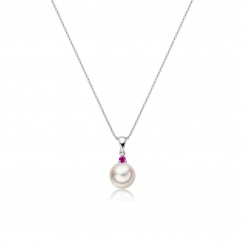 Akoya Pearl and Ruby Pendant in White Gold-2