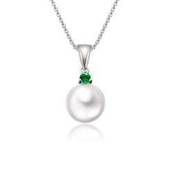 Akoya Pearl and Emerald Pendant in White Gold-1
