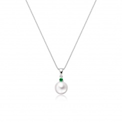 Akoya Pearl and Emerald Pendant in White Gold-2