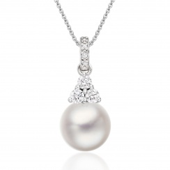 Astral Cluster Akoya Pearl Pendant in White Gold-APWRWG1328-1