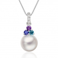 Astral Lagoon Akoya Pearl Pendant in White Gold-APWRWG1329-1