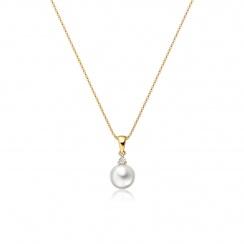 Akoya Pearl and Diamond Pendant with 18ct Yellow Gold-APWRYG0174-2