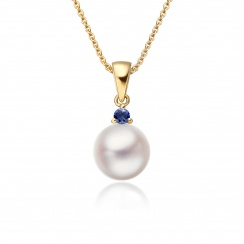 Akoya Pearl and Blue Sapphire Pendant in Yellow Gold-1