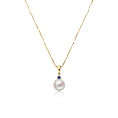 Akoya Pearl and Blue Sapphire Pendant in Yellow Gold-2